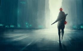 Картинка ночь, фантастика, дождь, человек, арт