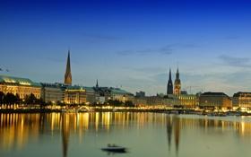 Обои огни, озеро, дома, вечер, Германия, Гамбург, ратуша