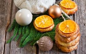 Обои елка, апельсин, печенье, игрушки