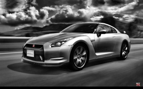Обои Nissan, black and white, GTR