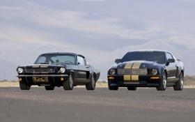 Картинка небо, чёрный, Mustang, Ford, Shelby, 2006, передок
