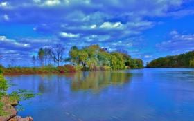 Обои осень, небо, облака, деревья, озеро