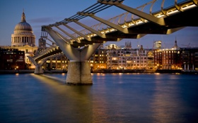 Обои река, ночь, мост, огни