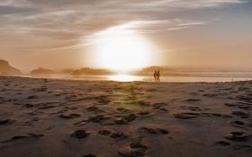 Картинка закат, пейзаж, пляж, море