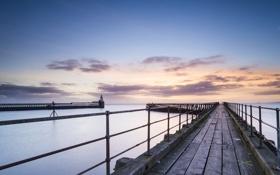 Обои море, пейзаж, закат, мост, порт