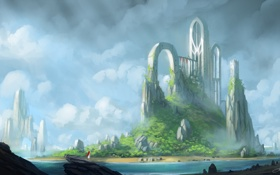 Картинка вода, девушка, озеро, камни, замок, скалы, остров