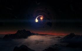 Картинка лед, небо, звезды, камни, фантастика, скалы, черная дыра