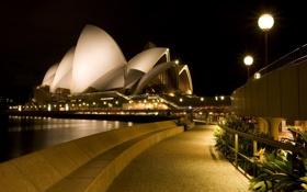 Обои театр, город, сидней, австралия, огни