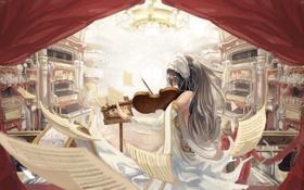 Обои девушка, ноты, музыка, скрипка, арт, листы, опера