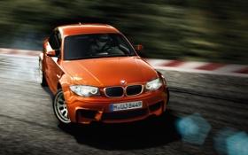 Обои дорога, оранжевый, bmw, купе, поворот, водитель, дрифт