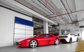 Картинка белый, красный, отражение, Ferrari, red, white, феррари