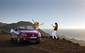 Картинка небо, вода, красный, девушки, берег, Volkswagen, гольф