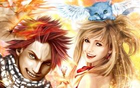 Обои девушка, котенок, крылья, смех, ключ, арт, парень