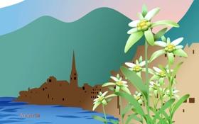 Картинка пейзаж, цветы, горы, город, озеро, путешествия, Австрия
