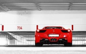Обои красный, парковка, red, ferrari, феррари, номера, 458 italia