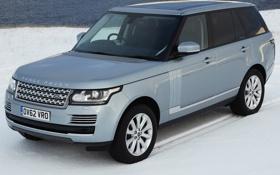 Картинка снег, Land Rover, Range Rover, автомобиль, передок, ленд ровер, Vogue