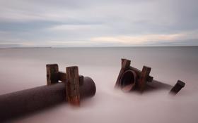 Обои море, пейзаж, трубы