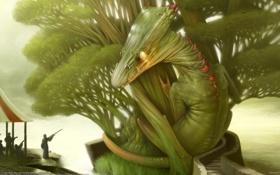 Картинка люди, дерево, дракон, ящерица, Corrado Vanelli