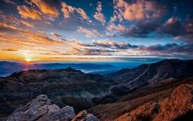 Картинка горы, рассвет, пустыня, долина