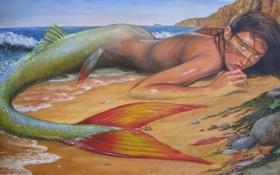 Картинка песок, море, волны, пляж, взгляд, девушка, лицо