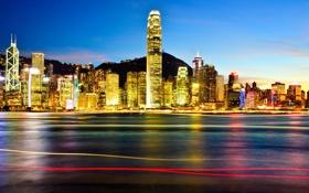 Обои ночь, город, огни, Гонконг, небоскребы, подсветка, Китай