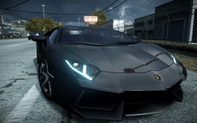 Картинка город, гонка, спорткар, Need for Speed The Run, моська, Lamborghini aventador lp700-4