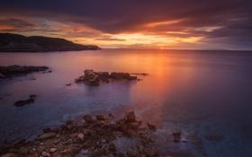 Картинка скалы, берег, побережье, вечер, Греция