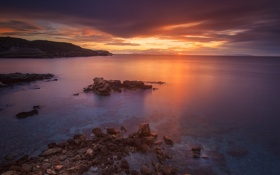 Обои скалы, побережье, Греция, берег, вечер