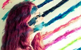 Картинка девушка, краски, Blending