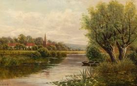 Обои небо, деревья, пейзаж, река, лодка, дома, картина