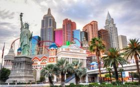 Картинка статуя, пальма, небо, Нью Йорк, казино, Лас Вегас, азарт