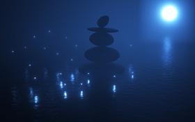 Обои море, светлячки, яркая луна, китайские камни