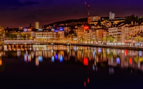 Обои ночь, город, река, фото, дома, Швейцария, Zurich