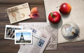 Картинка листья, фото, яблоко, карта, Стол, ткань, атлас