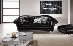 Обои диван, черный, интерьер, кресло, комната. квартира