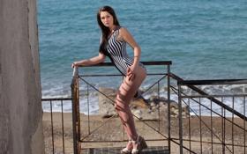 Картинка sexy, model, look, swimsuit, pose, heels, Corinne