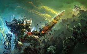 Обои World of Legend, скалы, арт, девушка, меч, битва, монтры