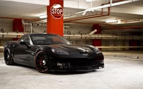 Картинка чёрный, Z06, Corvette, Chevrolet, парковка, STOP, шевроле