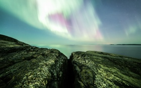 Картинка небо, звезды, ночь, камни, северное сияние, Финляндия