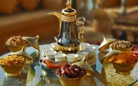 Картинка стол, чайник, чашки, тарелки, фрукты, орехи, сервировка