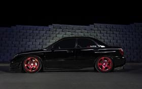Картинка Subaru, черная, профиль, black, impreza, субару, импреза