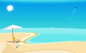 Обои песок, море, лето, вода, солнце, настроение, океан