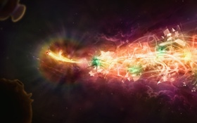 Обои космос, туманность, звезды, рыбка, узоры, fish, цвета