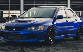 Обои Mitsubishi, Lancer, Evolution, blue, front