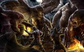 Картинка ночь, замок, огонь, кровь, меч, войны, арт