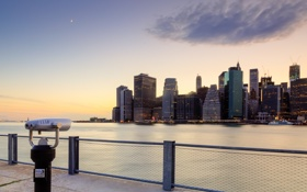 Картинка город, вечер, панорама, США, New York, Fulton Ferry