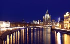 Обои река, Москва, набережная, высотка