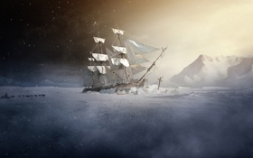 Обои холод, собаки, человек, корабль, парусник, арт, льды