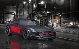Обои ночь, черный, Mercedes-Benz, матовый, black, мерседес, AMG