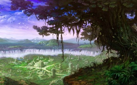 Обои пейзаж, город, фантастика, дерево, остров, руины, водопады